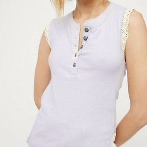 NWT Free People Last Stop Tank Lavender Lace S